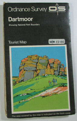 1979 Old Vintage OS Ordnance Survey One Inch Tourist Map of Dartmoor