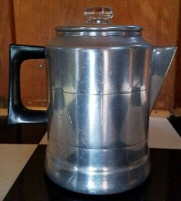 Vintage 9 Cup Comet Aluminum Stove Top Pot. Glass Percolator. Coffee. Tea.