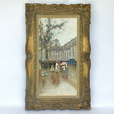"Andre Gisson ""Le Quai Du Louvre"" Oil On Canvas 24"" X 12"" Original Frame Signed"