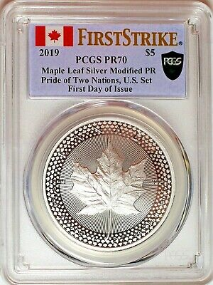 2019 $5 Pride of Two Nations Silver Maple Leaf Modified Proof PCGS PR70 FDOI