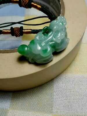 Grade A 100% Natural Burmese Jadeite Jade Carved PiXiu Pendant Necklace  A#8A