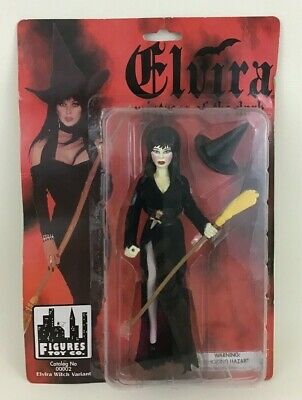 "Elvira Mistress of the Dark Witch 8"" Doll Figure New on Card Vintage 1998 90s"