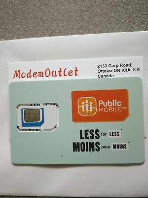Pre-activated Public Mobile SIM card with  TWO Month $10 plan Services included
