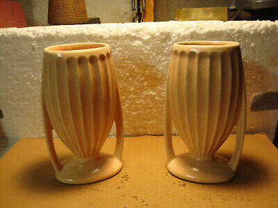 2 Vintage McCoy/HULL Pottery USA 215-9 Double Handle Pink Vases Ribbed Pedestal
