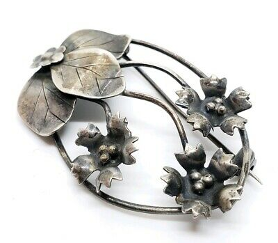Beautiful Vintage Signed Sterling Silver Art Nouveau Floral Repousse Brooch Pin