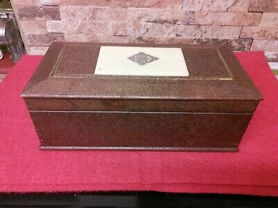 Antique Oak & Silver Topped 2 Draw ladies. Jewellery Document Box