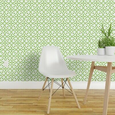 Peel-and-Stick Removable Wallpaper Mosaic Tile Green White Nature Abstract