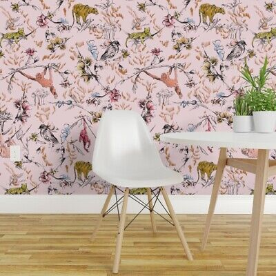 L And Stick Removable Wallpaper Monkey Pink Jungle Birds Tiger Nursery Sloth