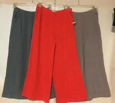 Good Luck Gem High Waist Culottes Pants Blue Red Gray Size S M Wide Leg Capri