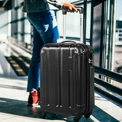 Black Lightweight ABS Hard Shell 4 Wheel Spinner Hand Cabin Luggage Suitcase US