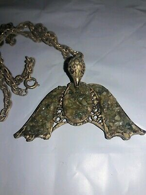 Antique Vintage Bird vulture Necklace Gold tone Crushed Stone VERY ODD