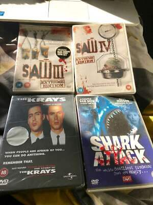 DVD Horror x 4 Bundle Saw 3 & 4, The Krays (new sealed), Shark Attack