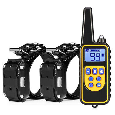 2x Dog Shock Training Collar Rechargeable Waterproof 875 Yards w/Remote Control