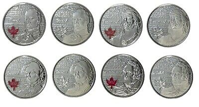 Canada 2012 2013 25 Cent War of 1812 Quarter Set of 8 from Mint UNC