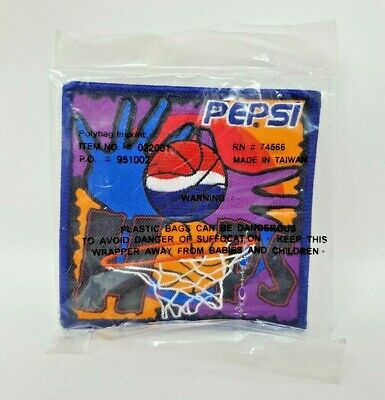 "Official Pepsi Embroidered Patch Basketball Hoops Square Advertisement 4"" EUC"