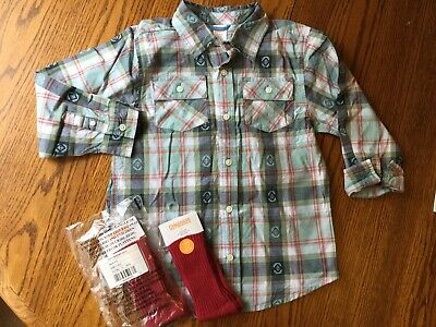 NEW Gymboree Boys Plaid Long-sleeve Button Shirt Size 5-6 (S) and 2 Pairs Socks