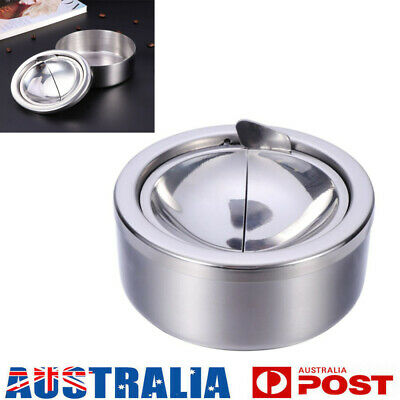 Stainless Steel Cigarette Lidded Ashtray Silver with Windproof Lid Cover Round