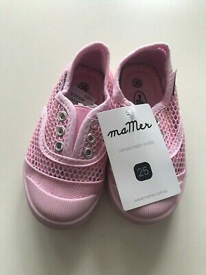 New - Mamer - Girl's Pink Canvas Mesh Shoes. Euro Size 25.