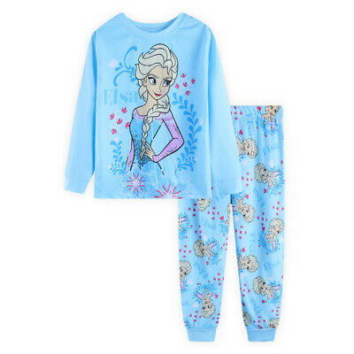 kids baby Girls Frozen Anna and Elsa long sleeve pyjama pjs size1-6 blue