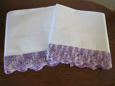Vintage Pair Of Pillowcases White & Fancy Lavender Crocheted Trim Work Exquisite