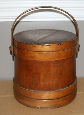 """Antique primitive wooden bucket with handle lid firkin almost 10"""" tall signed?"""