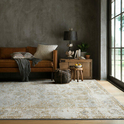 Clearance Large Rugs Gold Grey Vintage Distressed Traditional Carpet 2 Sizes