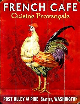 """TIN SIGN """"Rooster French Cafe"""" Chicken Decor Kitchen Wall Eggs Cock Farm"""