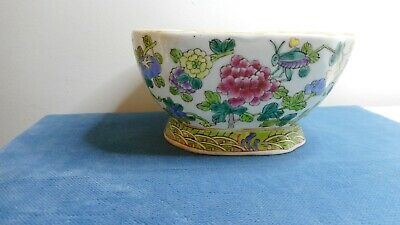 Antique Chinese Handpainted With Flowers & Insects Pottery Porcelain Bowl
