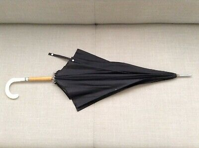 Vintage Retro Nailon Rhodia Umbrella - Black With Wood And Plastic Handle.