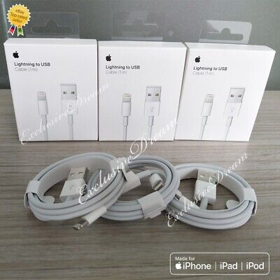 iPhone Charger Cable Original Apple Lot Genuine Lightning USB Cord 7 6 8 X Plus.
