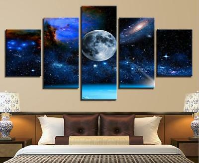 Blue Sky Outer Space Universe Planets Galaxy Canvas Print Painting Wall Art 5PCS