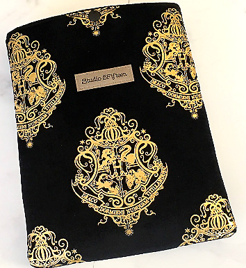 Harry Potter Velvet Padded book sleeve or iPad cover, with press stud closure.