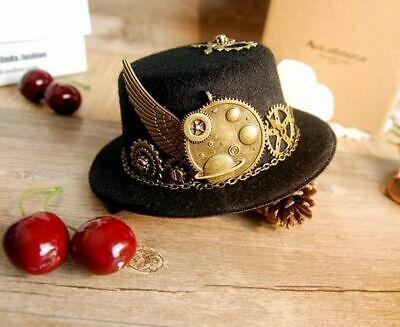Top Hat Gears Wing Chain Unique Mini Steampunk Stunning Black Halloween Cosplay