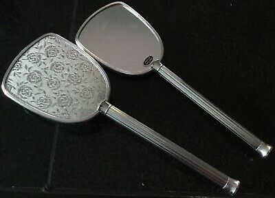 Silver Tone Vanity Mirror And Brush