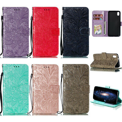 Lace Flower Embossed Magnetic Card Wallet Flip Stand Case Cover For Lot Huawei