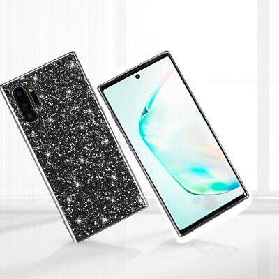 For Samsung Galaxy Note 10 Plus A50 J4 Glitter Sparkle Rubber Hybrid Case Cover