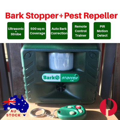 2-in-1 AUTOMATIC+REMOTE 80metres ULTRASONIC BARK STOP PRO + PEST BIRD REPELLER