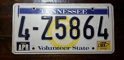 1981 TENNESSEE Volunteer State Aluminum License Plate. 4-Z5864 Free Ship