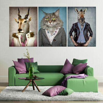 Unframed 3pcs Animals Modern Art Canvas Painting Picture Print Home Wall Decor