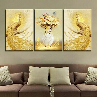 Unframed 3pcs Peacock Flower Modern Art Canvas Painting Picture Print Home Decor
