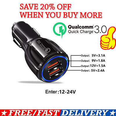 Universal Fast Quick Charge Dual 2 Usb Port Qc 3.0 Fast Car Charger Adapter