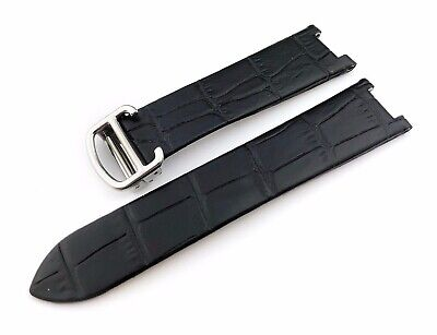 20mm Black Croco Leather Strap Band fit CARTIER Pasha watches Clasp Buckle