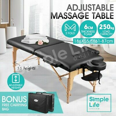 Wooden Foldable Massage Table Beauty Therapy Bed Waxing 55cm with Carrying Bag