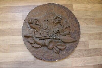 "(Arte : L-1514) Emebellecedor Relieve de Metal ""Wildschweinkopf "", Hierro"