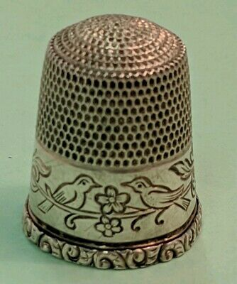 Antique Simon Brothers Sterling Silver Love Birds Thimble / Size 12
