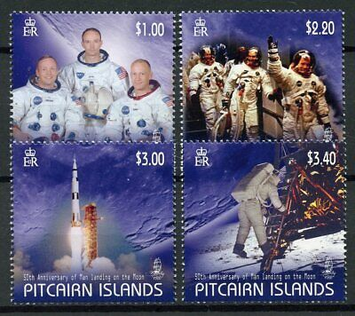 Pitcairn Islands 2019 MNH Moon Landing Neil Armstrong 4v Set Space Stamps