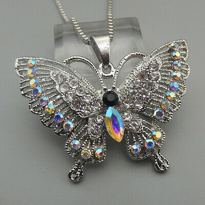 Women's AB Clear Crystal Rhinestone Butterfly Pendant Betsey Johnson Necklace