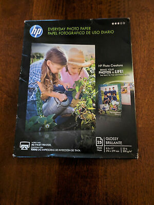 (M) HP Glossy Everyday Photo Paper, 25 Sheets, 8.5 x 11 inches; Free US Shipping