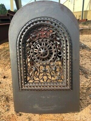 Antique Cast Iron Victorian Fireplace Cover Arched With Great Filigree Details