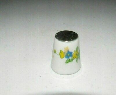 White Ceramic Yellow Floral Gold Trim September Collectible Thimble